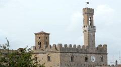 Beautiful Palazzo Pretorio in Volterra, Tuscany, Italy - stock footage