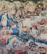 Ancient mural painting of the life of buddha Stock Photos