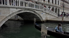 Stock Video Footage of Venice Italy Canal Bridge Gondola ride 4K 018
