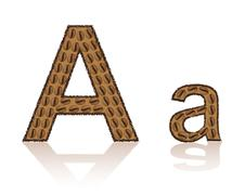 letter a is made grains of coffee vector illustration - stock illustration