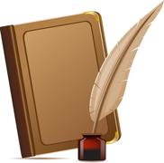 Stock Illustration of book and feather with inks