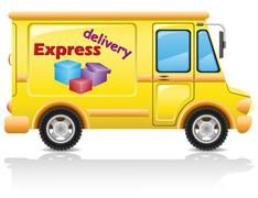 Car express delivery of mail and parcels vector illustration Stock Illustration