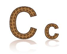 Letter c is made grains of coffee vector illustration Stock Illustration