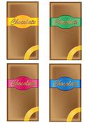 chocolate in packing with coloured labels - stock illustration