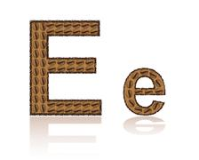 letter e is made grains of coffee vector illustration - stock illustration