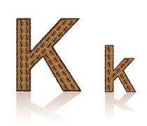 Letter k is made grains of coffee vector illustration Stock Illustration