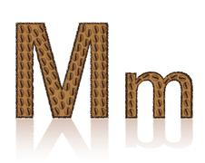 letter m is made grains of coffee vector illustration - stock illustration