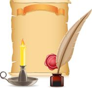 Stock Illustration of old paper conflagrant candle and feather with inks