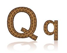 letter q is made grains of coffee vector illustration - stock illustration