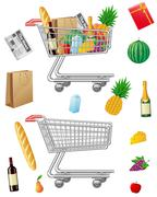Shopping cart with purchases and foods Piirros