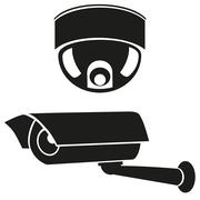 Stock Illustration of black and white icons of surveillance cameras