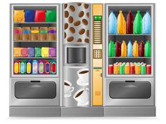 vending coffee snack and water is a machine - stock illustration