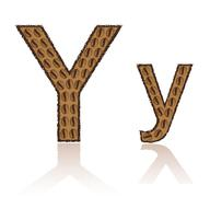 letter y is made grains of coffee vector illustration - stock illustration