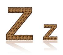 letter z is made grains of coffee vector illustration - stock illustration