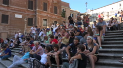 Rome Italy Spanish Steps tourist crowd sitting 4K 104 Stock Footage