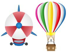 airship zeppelin and hot air balloon vector illustration - stock illustration