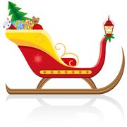 christmas sleigh of santa claus with gifts vector illustration - stock illustration