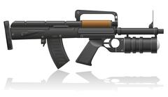 machine gun with a grenade launcher vector illustration - stock illustration
