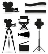 set icons silhouette cinematography cinema and movie vector illustration - stock illustration