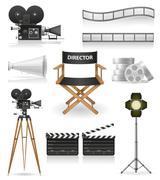 set icons cinematography cinema and movie vector illustration - stock illustration