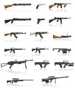 weapon and gun set collection icons vector illustration - stock illustration