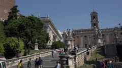 Rome Italy steps and Temple of Castor and Pollux 4K 090 Stock Footage