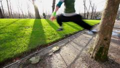 Parkour Jump In The Garden At Paris Stock Footage