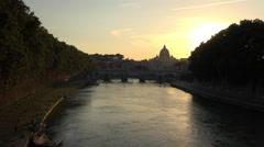 Rome Italy sunset over Tiber River bridge 4K 113 Stock Footage