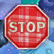 Mixed Media Stop Sign Illustration - stock illustration