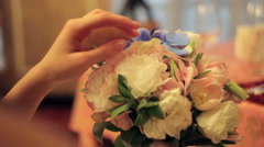 Woman gently touching beautiful bouquet Stock Footage