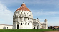 The duomo of Pisa with in the background the tower Stock Footage
