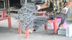 Metalworking Curved or bending steel make Stirrups poles. - stock footage