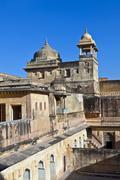 inside beautiful amber fort in jaiput - stock photo
