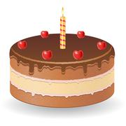 chocolate cake with cherries and burning candle vector illustration - stock illustration