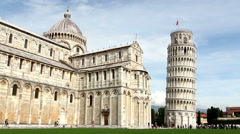 The beautiful white duomo and tower of Pisa Stock Footage
