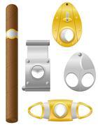 cigar and cutter vector illustration - stock illustration