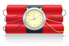 explosive dynamite and clockwork vector illustration - stock illustration
