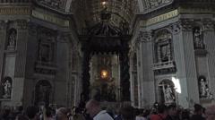 Rome Italy Vatican St Peters Basilica Bernini Baldacchino HD 021 Stock Footage