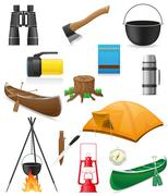 set icons items for outdoor recreation vector illustration - stock illustration