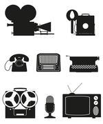 vintage and old art equipment silhouette video photo phone recording tv radio - stock illustration