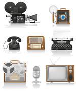 vintage and old art equipment video photo phone recording tv radio writing ve - stock illustration