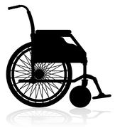 wheelchair black silhouette vector illustration - stock illustration