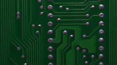 Circuit board with microchips. Electronics. Stock Footage