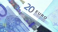 European banknotes (dolly shot) Stock Footage