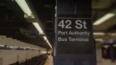 4K 42nd Street Subway Platform Stock Footage