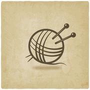 Stock Illustration of knitting symbol old background