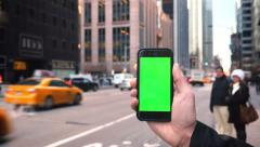 4K Green Screen iPhone in Manhattan Stock Footage