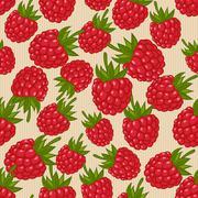 Raspberries seamless pattern Stock Illustration