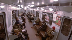 Passengers in the car subway train. Stock Footage