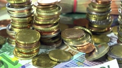 European money (dolly shot) Stock Footage
